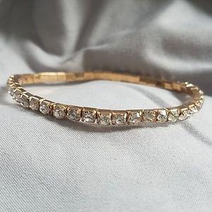 💕free💕 rhinestone bracelet elastic gold color